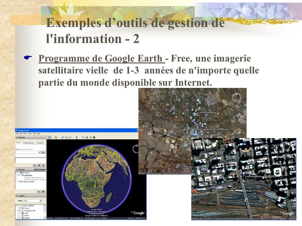 Exemples doutils de gestion de l'information - 2 Programme de Google Earth - Free, une imagerie satellitaire vielle de 1-3 années de n'importe quelle