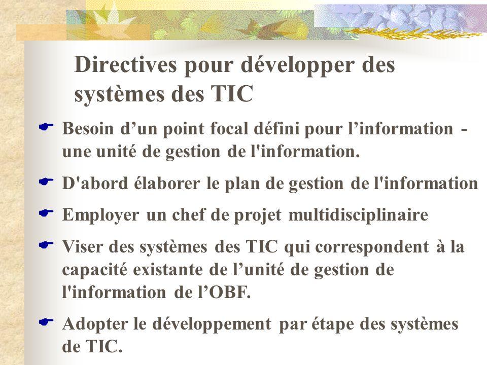 Directives pour développer des systèmes des TIC Besoin dun point focal défini pour linformation - une unité de gestion de l'information. D'abord élabo