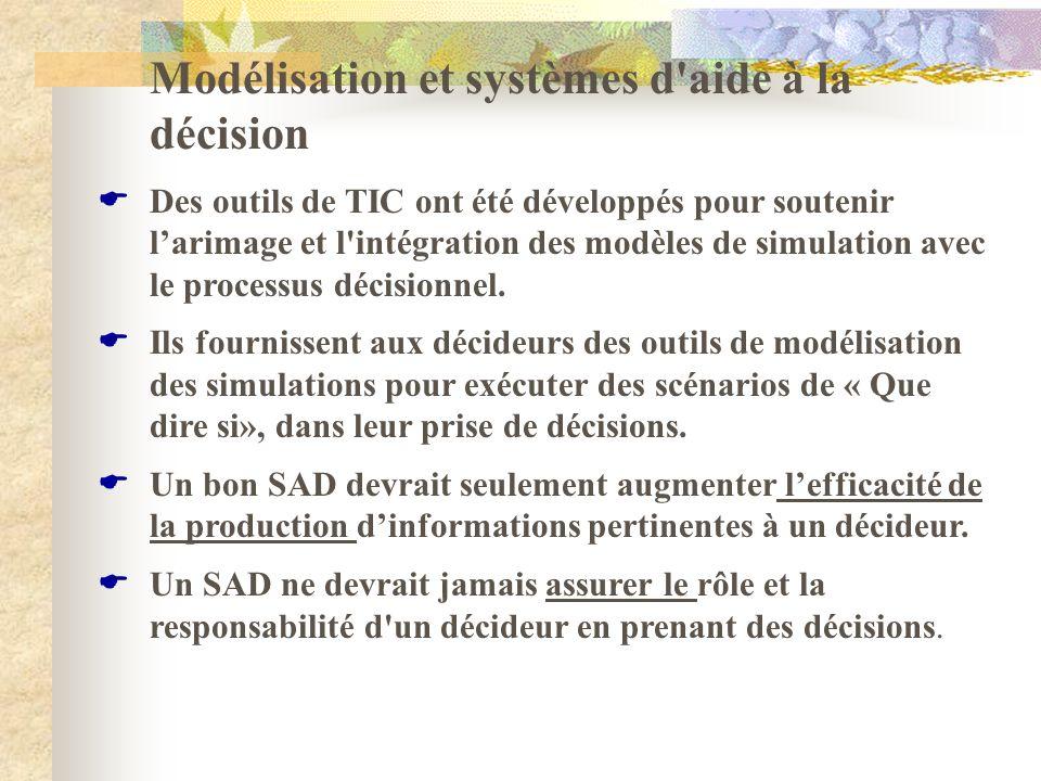 Modélisation et systèmes d'aide à la décision Des outils de TIC ont été développés pour soutenir larimage et l'intégration des modèles de simulation a