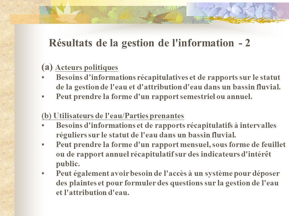 Résultats de la gestion de l'information - 2 (a) Acteurs politiques Besoins dinformations récapitulatives et de rapports sur le statut de la gestion d
