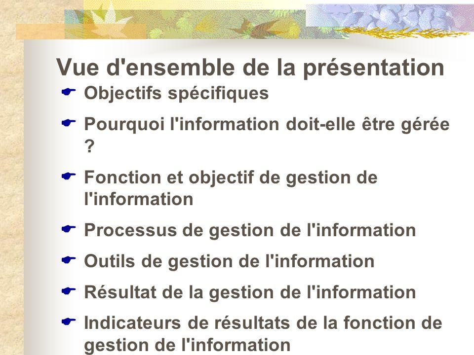 Vue d'ensemble de la présentation Objectifs spécifiques Pourquoi l'information doit-elle être gérée ? Fonction et objectif de gestion de l'information