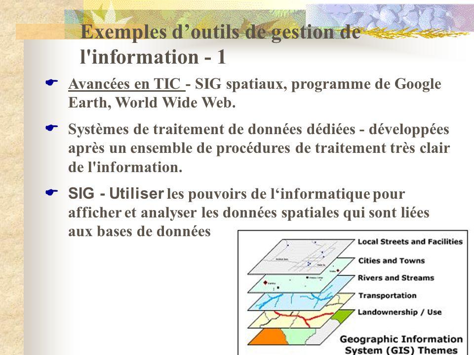 Exemples doutils de gestion de l'information - 1 Avancées en TIC - SIG spatiaux, programme de Google Earth, World Wide Web. Systèmes de traitement de