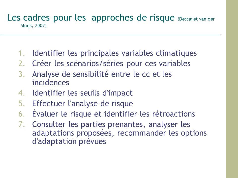 Les cadres pour les approches de risque (Dessai et van der Sluijs, 2007) 1.Identifier les principales variables climatiques 2.Créer les scénarios/séri