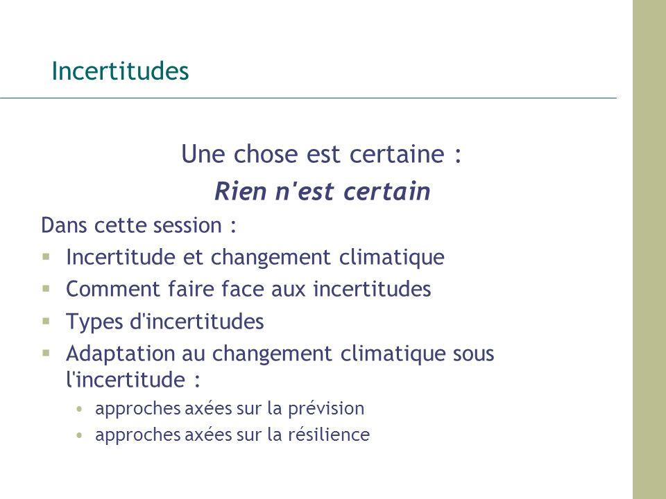 Incertitudes Une chose est certaine : Rien n'est certain Dans cette session : Incertitude et changement climatique Comment faire face aux incertitudes