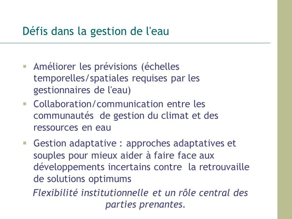 Défis dans la gestion de l'eau Améliorer les prévisions (échelles temporelles/spatiales requises par les gestionnaires de l'eau) Collaboration/communi