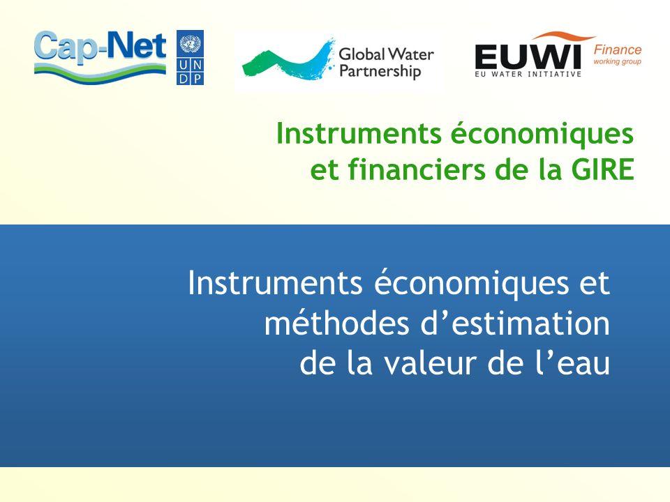 Instruments économiques et financiers de la GIRE Instruments économiques et méthodes destimation de la valeur de leau