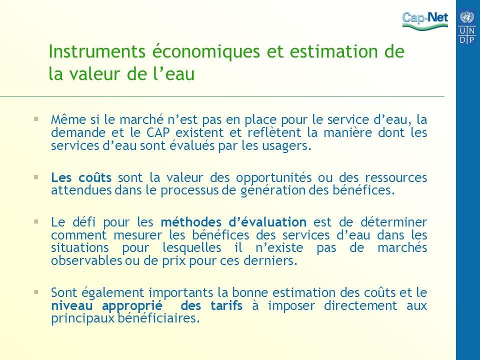 Instruments économiques et estimation de la valeur de leau Même si le marché nest pas en place pour le service deau, la demande et le CAP existent et reflètent la manière dont les services deau sont évalués par les usagers.
