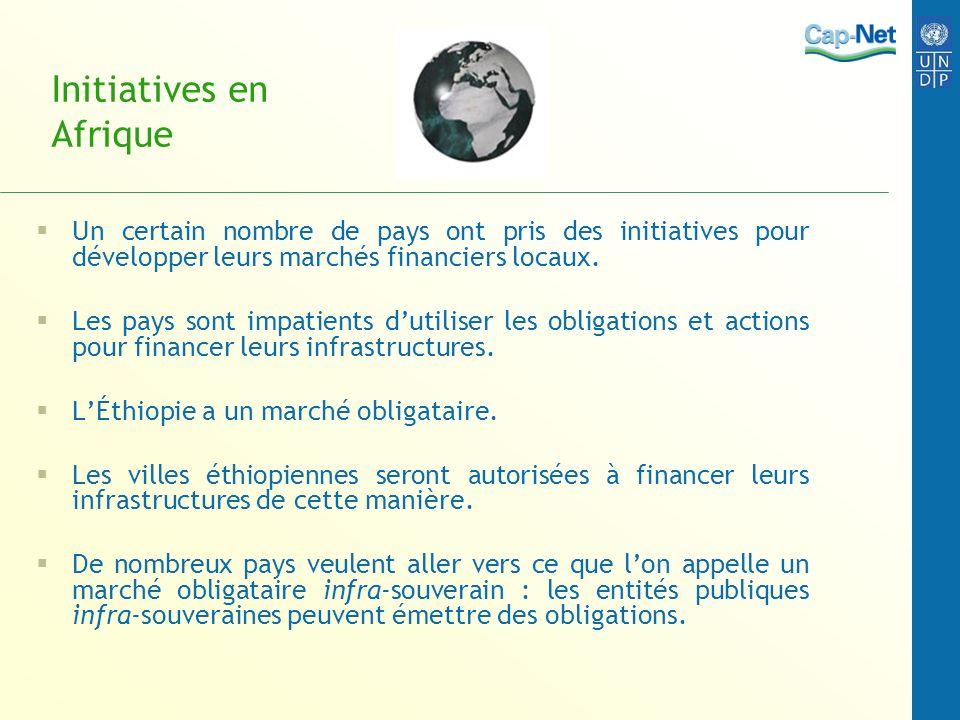 Initiatives en Afrique Un certain nombre de pays ont pris des initiatives pour développer leurs marchés financiers locaux.