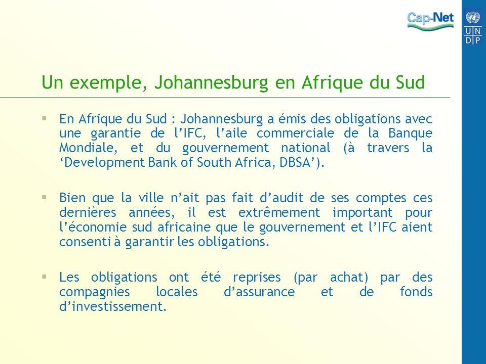 Un exemple, Johannesburg en Afrique du Sud En Afrique du Sud : Johannesburg a émis des obligations avec une garantie de lIFC, laile commerciale de la Banque Mondiale, et du gouvernement national (à travers la Development Bank of South Africa, DBSA).