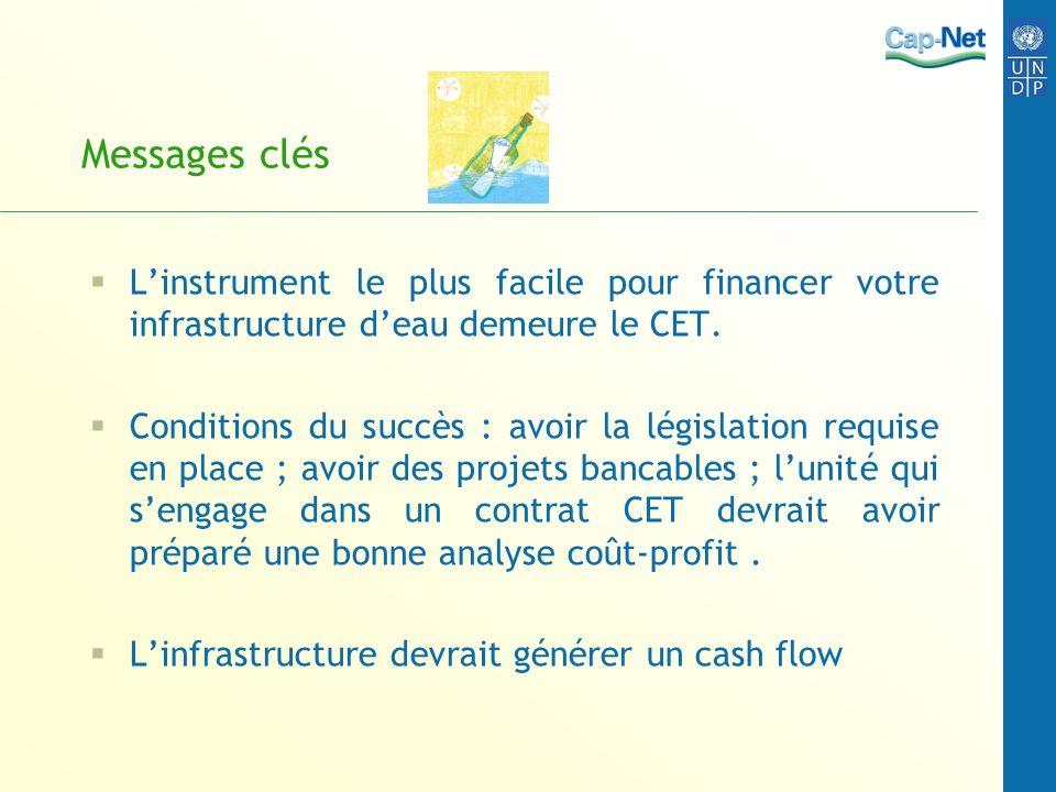 Messages clés Linstrument le plus facile pour financer votre infrastructure deau demeure le CET.