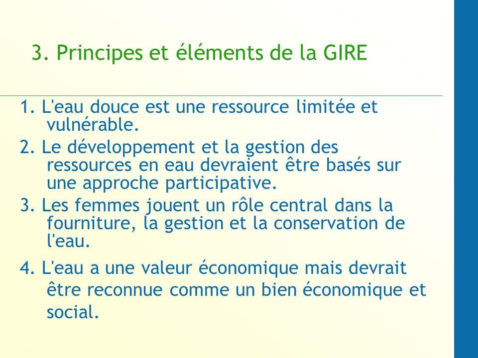 3.Principes et éléments de la GIRE 1. L eau douce est une ressource limitée et vulnérable.