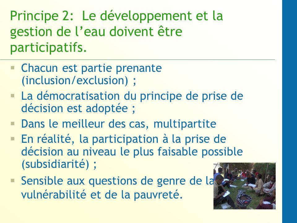 Principe 2: Le développement et la gestion de leau doivent être participatifs.