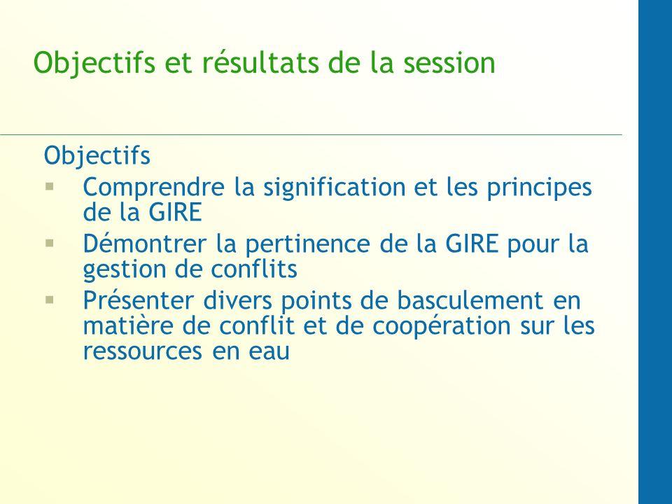 Objectifs et résultats de la session Objectifs Comprendre la signification et les principes de la GIRE Démontrer la pertinence de la GIRE pour la gestion de conflits Présenter divers points de basculement en matière de conflit et de coopération sur les ressources en eau