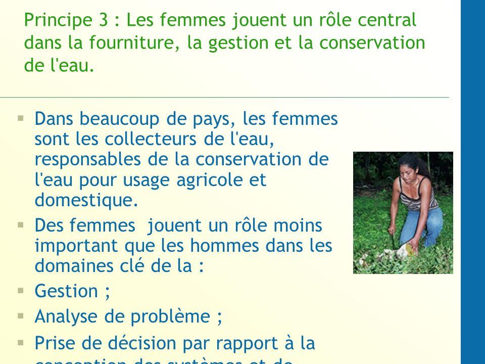 Principe 3 : Les femmes jouent un rôle central dans la fourniture, la gestion et la conservation de l eau.