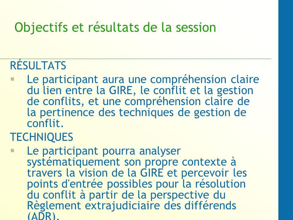 Objectifs et résultats de la session RÉSULTATS Le participant aura une compréhension claire du lien entre la GIRE, le conflit et la gestion de conflits, et une compréhension claire de la pertinence des techniques de gestion de conflit.
