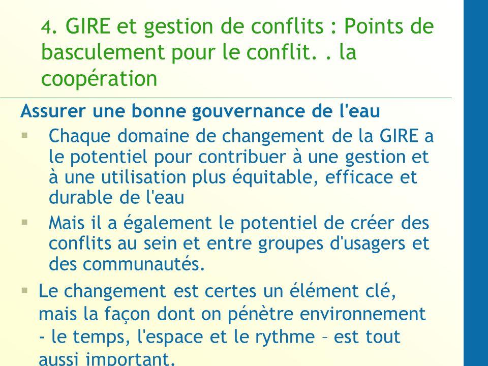 4.GIRE et gestion de conflits : Points de basculement pour le conflit..