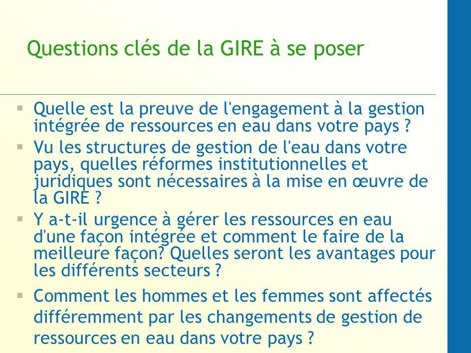 Questions clés de la GIRE à se poser Quelle est la preuve de l engagement à la gestion intégrée de ressources en eau dans votre pays .