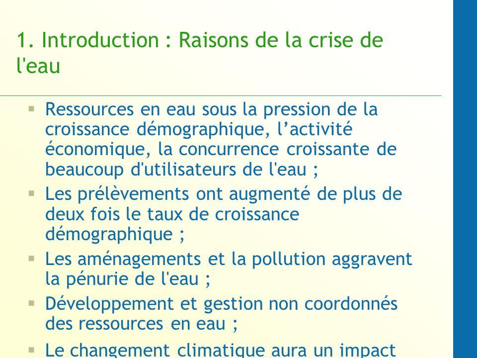 1. Introduction : Raisons de la crise de l'eau Ressources en eau sous la pression de la croissance démographique, lactivité économique, la concurrence