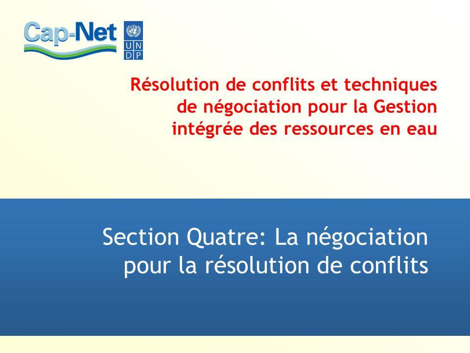 Résolution de conflits et techniques de négociation pour la Gestion intégrée des ressources en eau Section Quatre: La négociation pour la résolution d