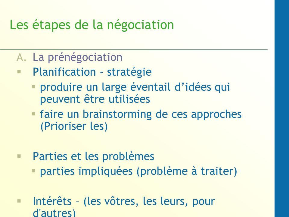 Les étapes de la négociation A.La prénégociation Planification - stratégie produire un large éventail didées qui peuvent être utilisées faire un brain