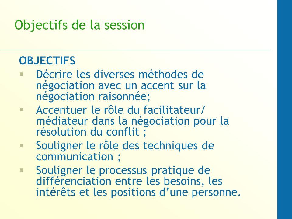 Objectifs de la session TECHNIQUES comprendre les manières dutiliser la négociation pour aider les acteurs à sorienter vers un arrangement mutuellement avantageuse.