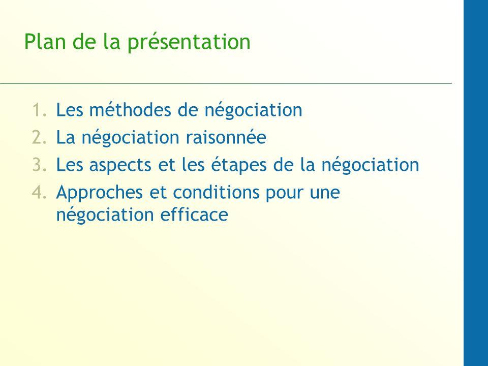 Plan de la présentation 1.Les méthodes de négociation 2.La négociation raisonnée 3.Les aspects et les étapes de la négociation 4.Approches et conditio
