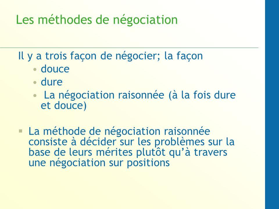 Les méthodes de négociation N importe quelle méthode de négociation peut être évaluées de manière juste par trois critères: Elle devrait produire un accord sage si l accord est possible Elle devrait être efficace Elle devrait améliorer ou au moins ne pas dégrader les relations entre les parties.