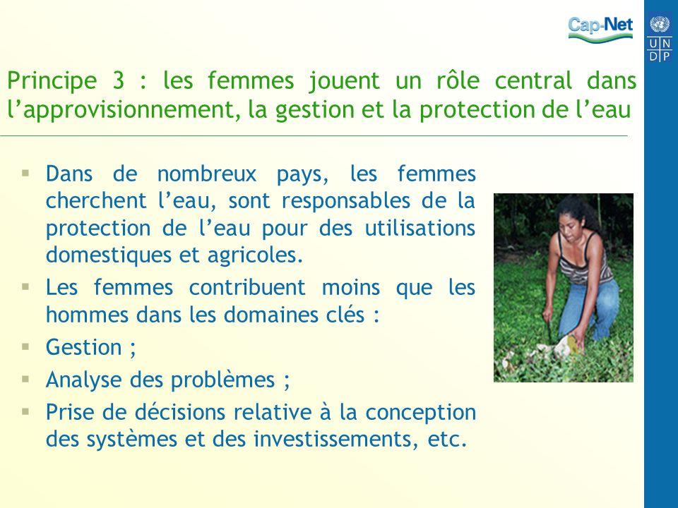 Principe 3 : les femmes jouent un rôle central dans lapprovisionnement, la gestion et la protection de leau Dans de nombreux pays, les femmes cherchen