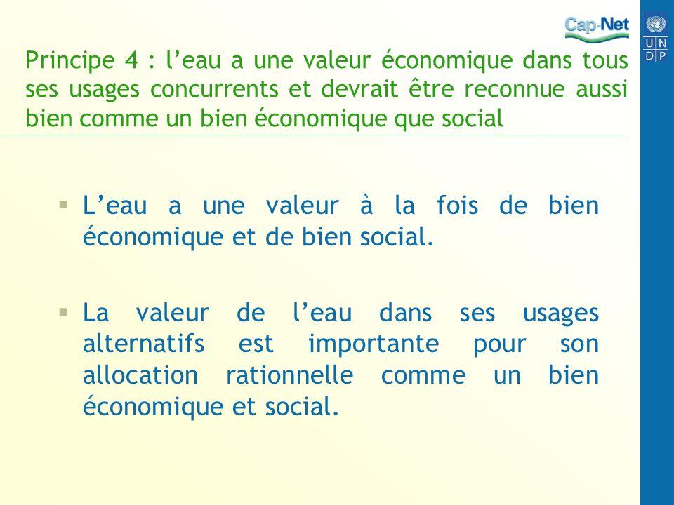 Principe 4 : leau a une valeur économique dans tous ses usages concurrents et devrait être reconnue aussi bien comme un bien économique que social Lea