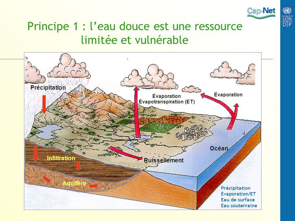 Principe 1 : leau douce est une ressource limitée et vulnérable Océan Évaporation Évapotranspiration (ET) Ruissellement Précipitation Aquifère Infiltr