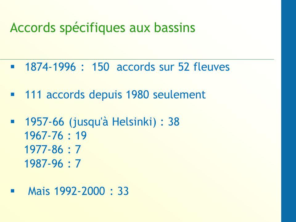 Accords spécifiques aux bassins 1874-1996 : 150 accords sur 52 fleuves 111 accords depuis 1980 seulement 1957-66 (jusqu à Helsinki) : 38 1967-76 : 19 1977-86 : 7 1987-96 : 7 Mais 1992-2000 : 33