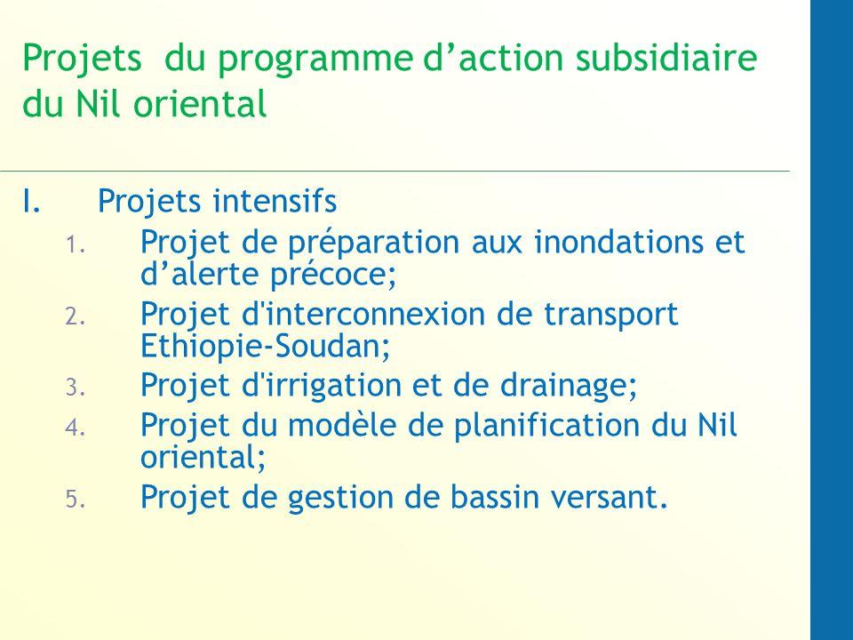 Projets du programme daction subsidiaire du Nil oriental I.Projets intensifs 1.