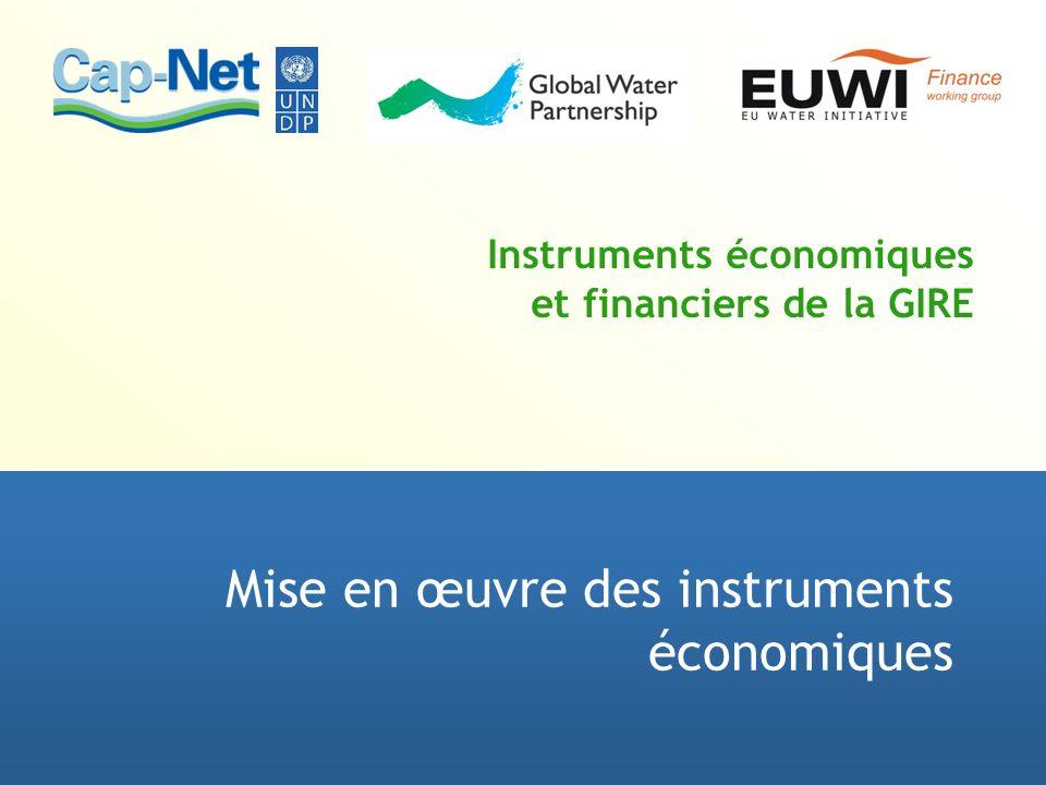 Instruments économiques et financiers de la GIRE Mise en œuvre des instruments économiques