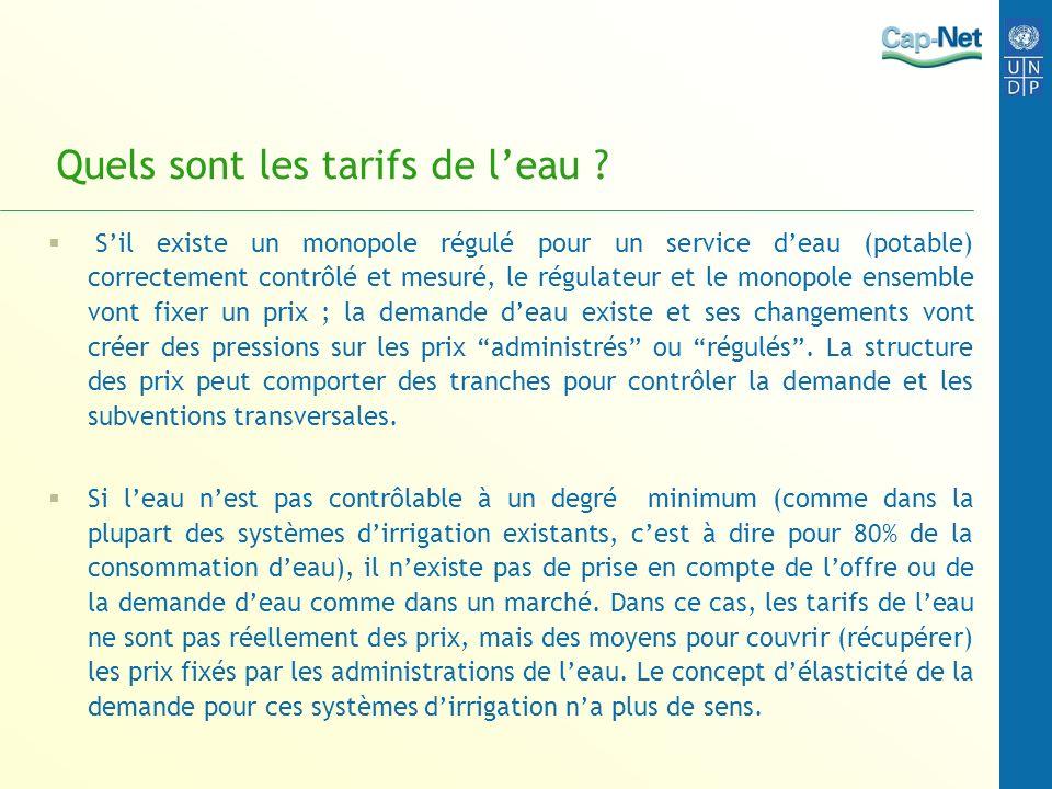 Quels sont les tarifs de leau ? Sil existe un monopole régulé pour un service deau (potable) correctement contrôlé et mesuré, le régulateur et le mono