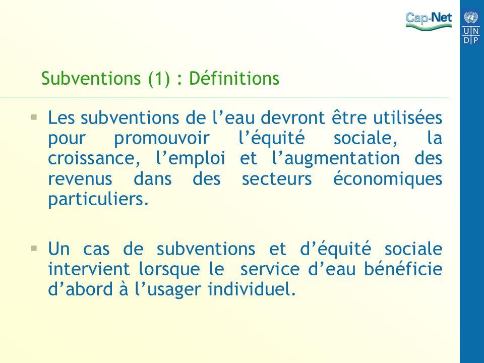 Subventions (1) : Définitions Les subventions de leau devront être utilisées pour promouvoir léquité sociale, la croissance, lemploi et laugmentation
