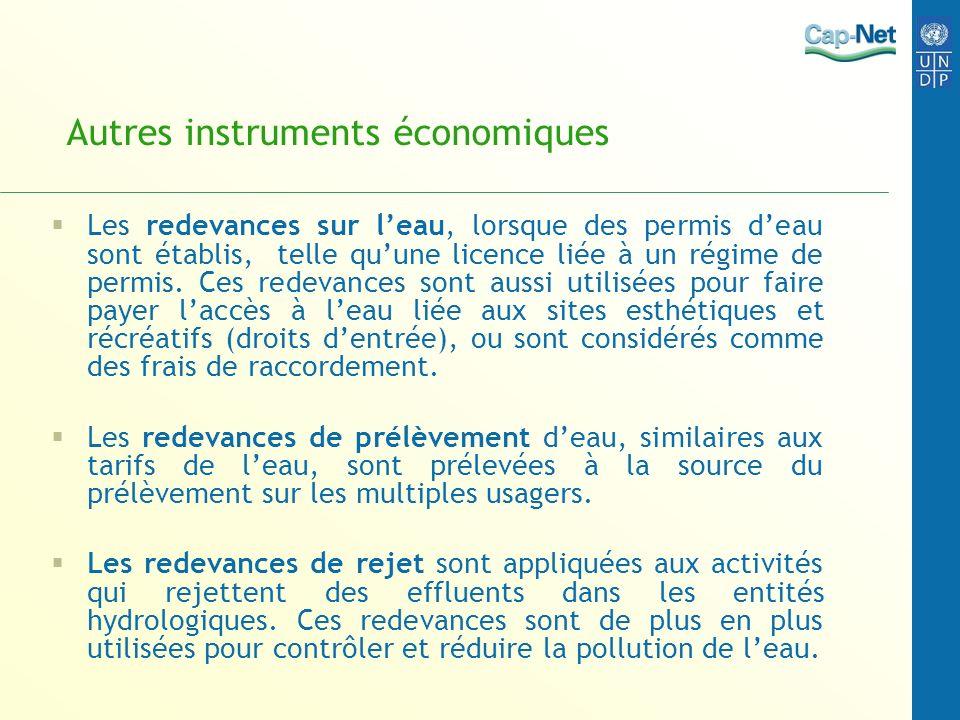 Autres instruments économiques Les redevances sur leau, lorsque des permis deau sont établis, telle quune licence liée à un régime de permis. Ces rede
