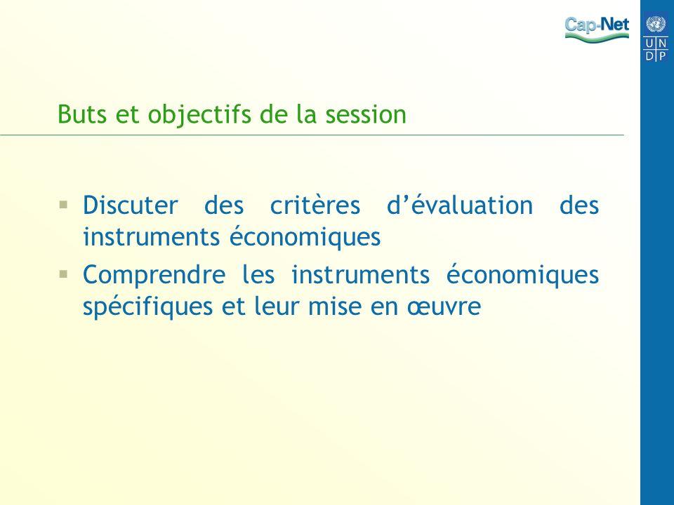Buts et objectifs de la session Discuter des critères dévaluation des instruments économiques Comprendre les instruments économiques spécifiques et le