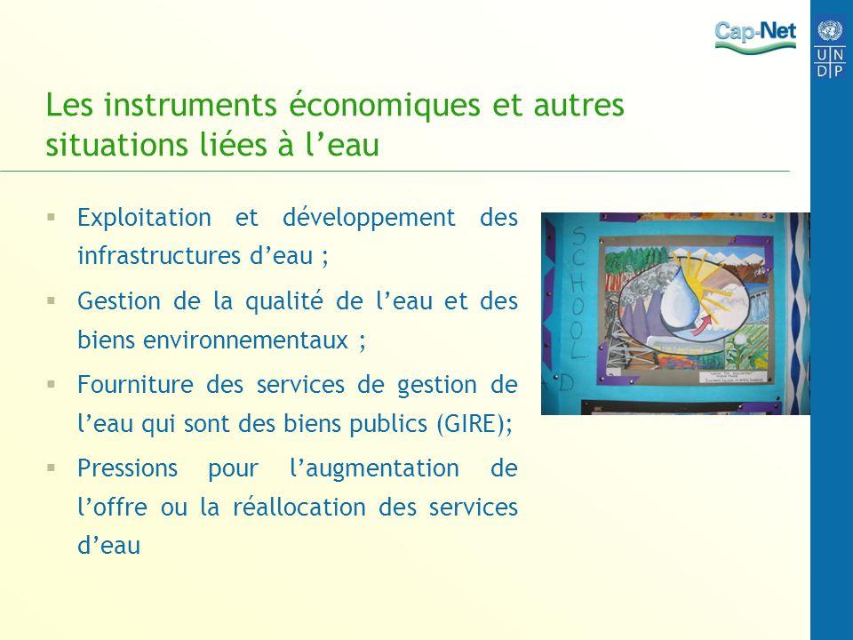 Les instruments économiques et autres situations liées à leau Exploitation et développement des infrastructures deau ; Gestion de la qualité de leau e