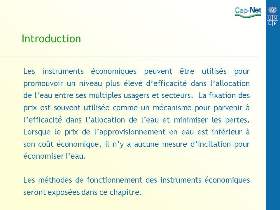 Introduction Les instruments économiques peuvent être utilisés pour promouvoir un niveau plus élevé defficacité dans lallocation de leau entre ses mul