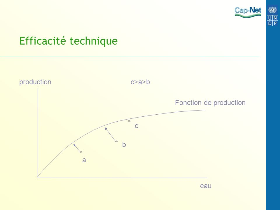 Efficacité allocative dans un système deau à deux activités P2*z2´(y2) Le point defficacité allocative est y ** où le produit marginal des 2 activités est égal.