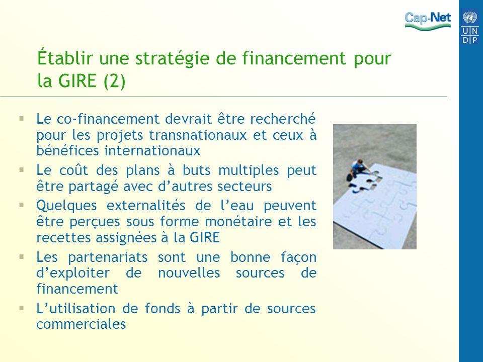 Établir une stratégie de financement pour la GIRE (2) Le co-financement devrait être recherché pour les projets transnationaux et ceux à bénéfices int