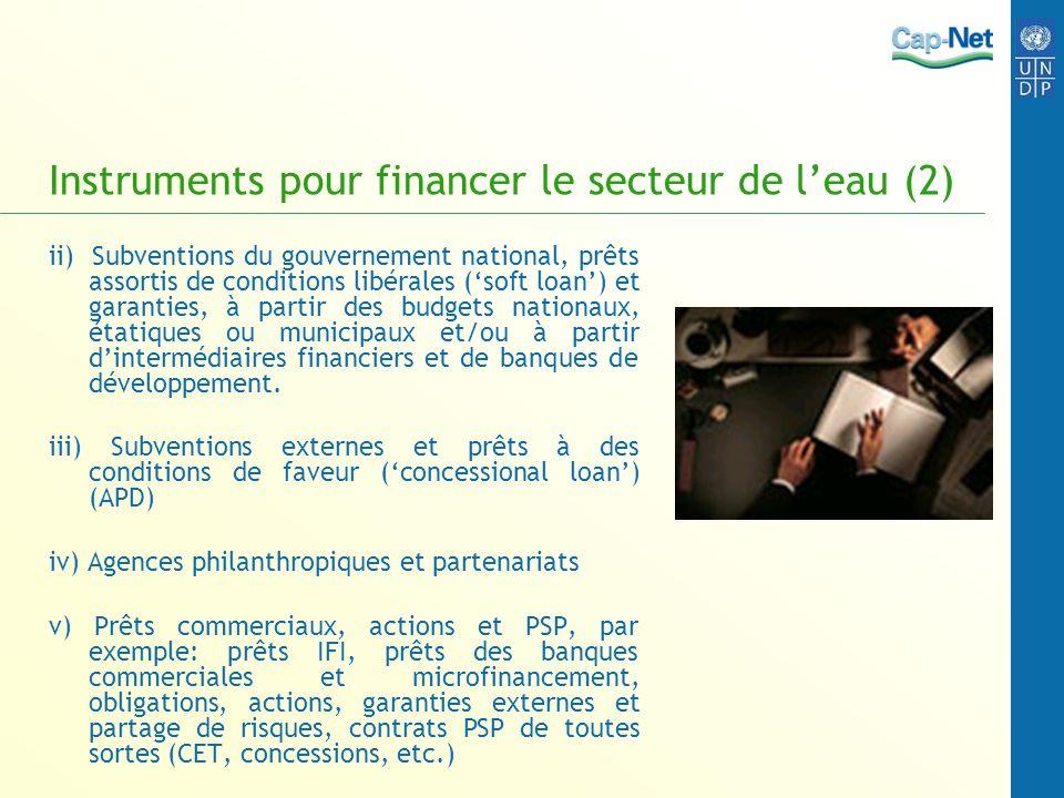 Instruments pour financer le secteur de leau (2) ii) Subventions du gouvernement national, prêts assortis de conditions libérales (soft loan) et garanties, à partir des budgets nationaux, étatiques ou municipaux et/ou à partir dintermédiaires financiers et de banques de développement.
