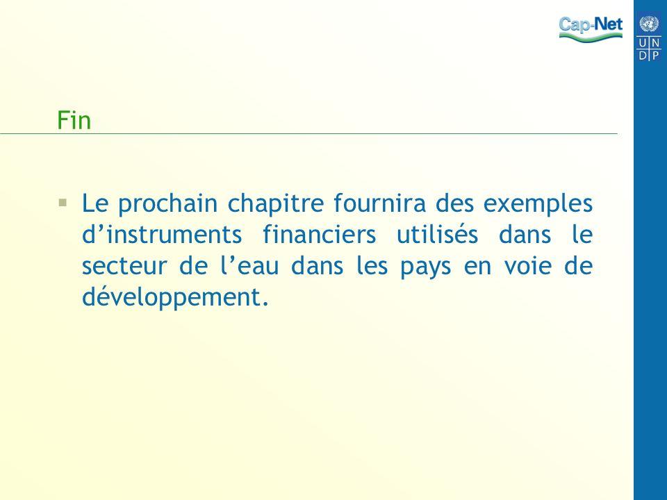 Fin Le prochain chapitre fournira des exemples dinstruments financiers utilisés dans le secteur de leau dans les pays en voie de développement.
