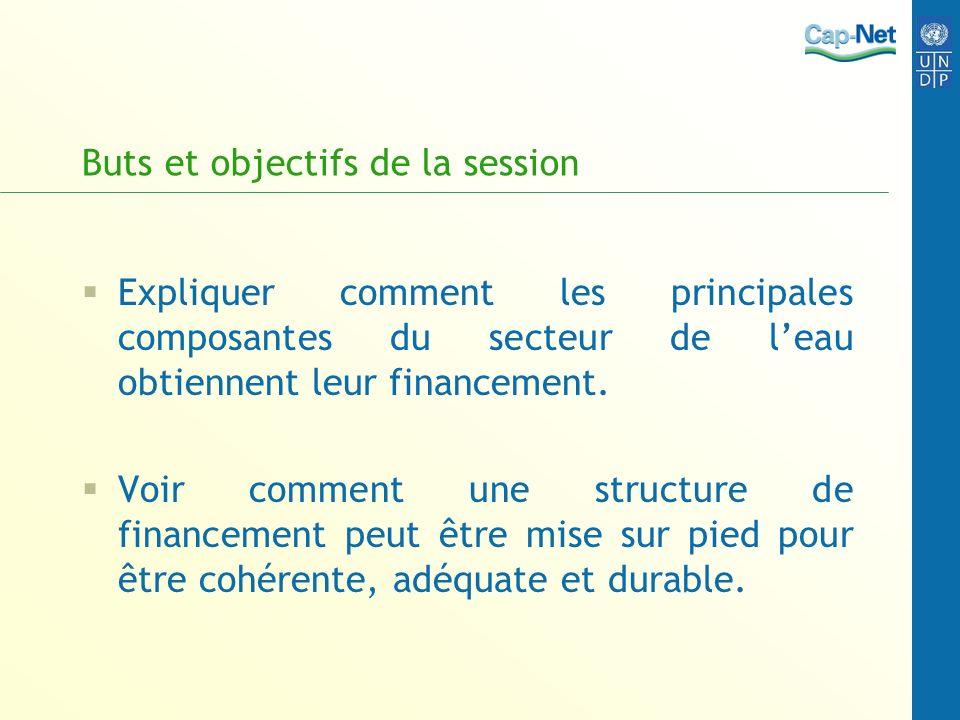 Buts et objectifs de la session Expliquer comment les principales composantes du secteur de leau obtiennent leur financement. Voir comment une structu
