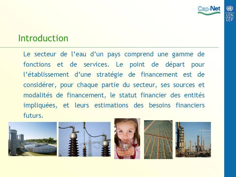 Introduction Le secteur de leau dun pays comprend une gamme de fonctions et de services. Le point de départ pour létablissement dune stratégie de fina