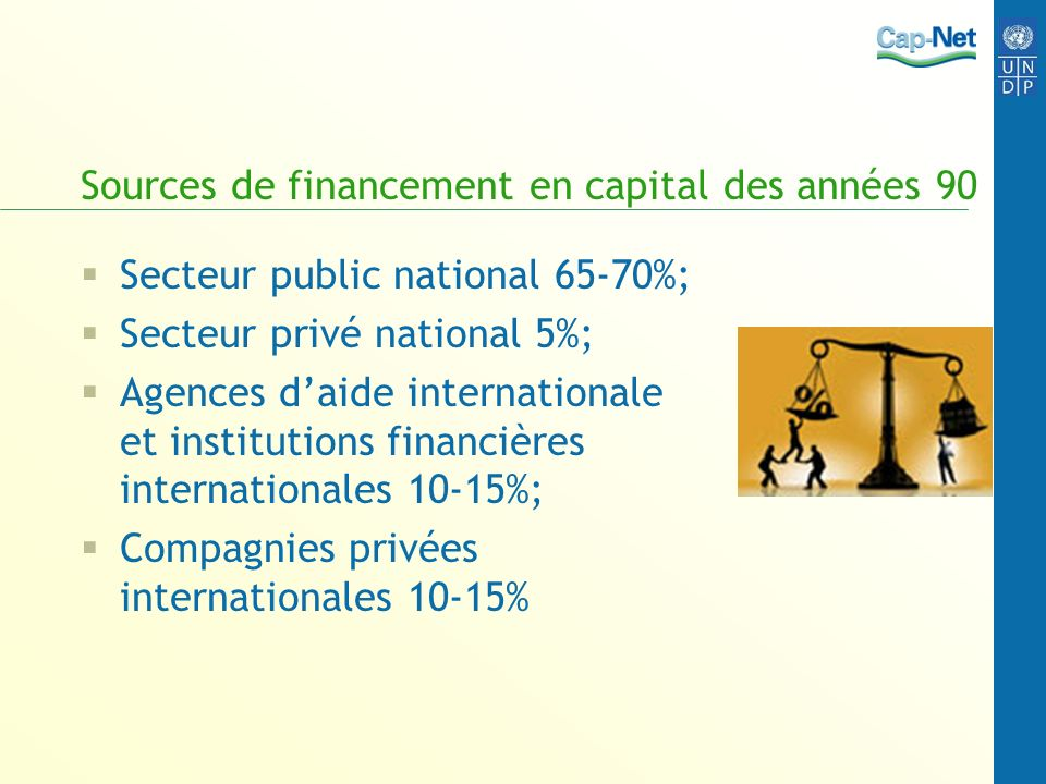 Sources de financement en capital des années 90 Secteur public national 65-70%; Secteur privé national 5%; Agences daide internationale et institutions financières internationales 10-15%; Compagnies privées internationales 10-15%