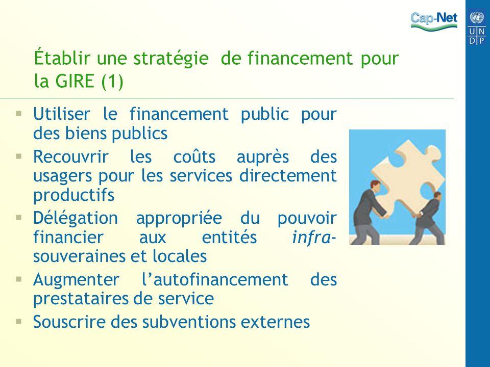 Établir une stratégie de financement pour la GIRE (1) Utiliser le financement public pour des biens publics Recouvrir les coûts auprès des usagers pou