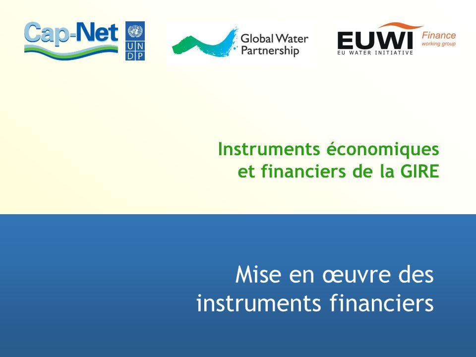 Instruments économiques et financiers de la GIRE Mise en œuvre des instruments financiers