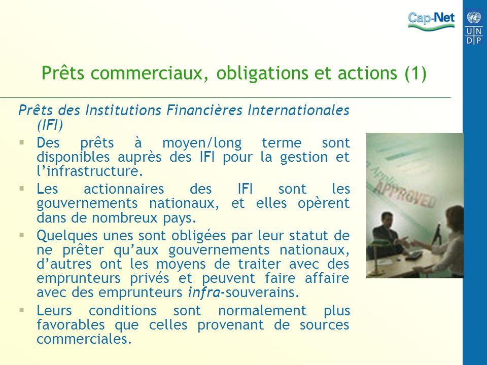 Prêts commerciaux, obligations et actions (1) Prêts des Institutions Financières Internationales (IFI) Des prêts à moyen/long terme sont disponibles a