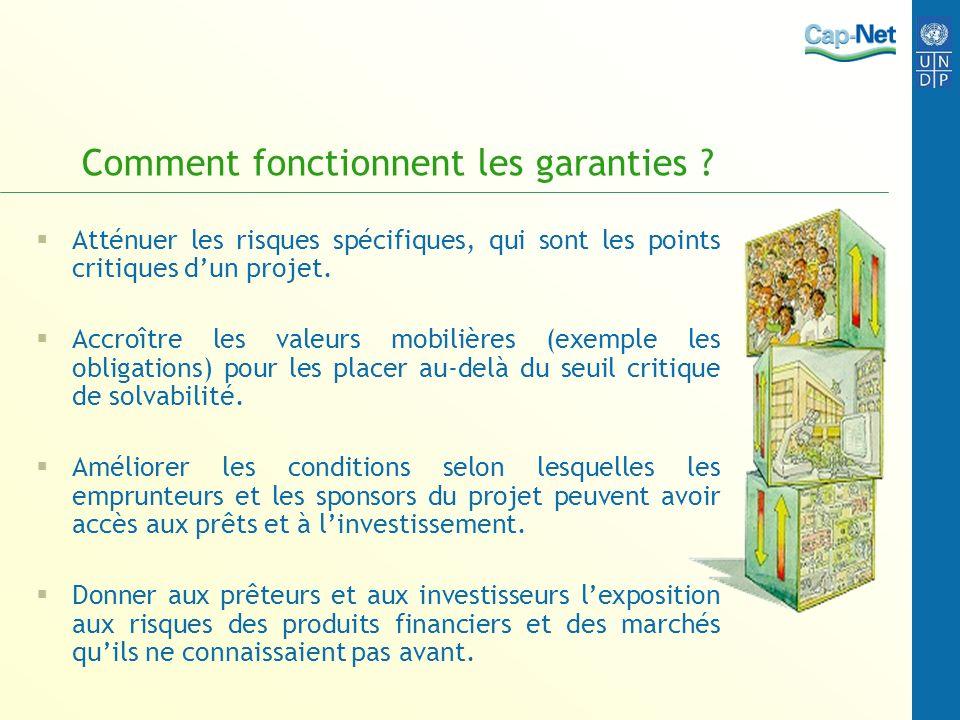 Comment fonctionnent les garanties ? Atténuer les risques spécifiques, qui sont les points critiques dun projet. Accroître les valeurs mobilières (exe